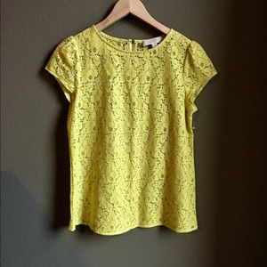 LOFT Petites XS yellow top